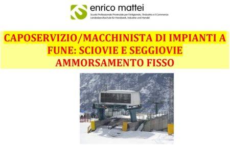 Corso 2019 per Caposervizio/Macchinista di sciovie e seggiovie ammorsamento fisso