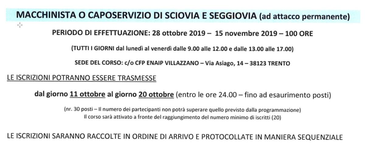 Corso macchinista o caposervizio sciovia e seggiovia Villazzano 2019