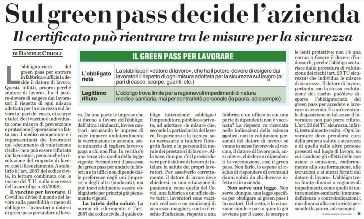 Sul green pass per i dipendenti decide l'azienda